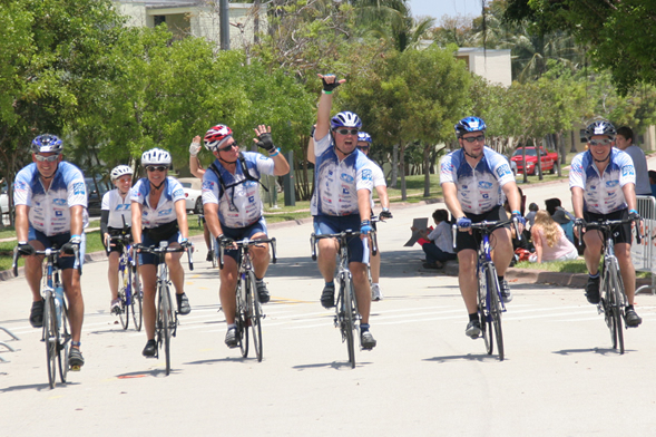 Crossing the 150-mile Finish Line with my team (Team StormRiders)