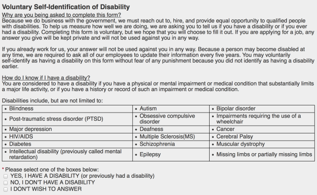 Disability Disclosure Survey